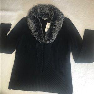 Roz & Ali Faux Fur Collared Cardigan NWT